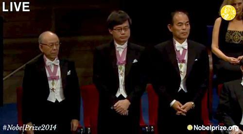ノーベル物理学賞を受賞した(左から)赤崎修教授、天野浩教授、中村修二教授=12月10日、ストックホルムのコンサートホールでのノーベル賞授賞式