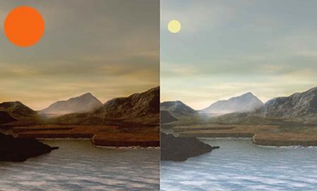 図 赤色矮星に照らされた太陽系外惑星の想像図(左)。全体に赤みを帯びている。やってくる電磁波の種類が、太陽の光を受ける地球(右)とは違う。(滝澤さんら研究チーム提供)
