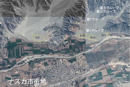 ナスカ市街地とリャマの地上絵の位置関係を示した衛星写真