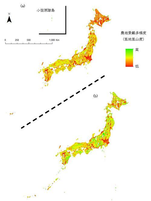 図 (a)今回作成された新指標DSIの全国地図と、(b)従来型の指数で作成された全国地図。(a)のDSIを用いた全国地図では従来の指標よりも低い評価の土地が目立つ。研究グループによると、イトトンボの生息情報で検証すると、(a)の評価がより実態に近かったという。(国立環境研究所提供)