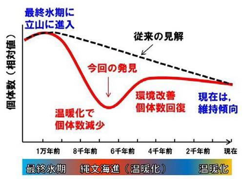 図 立山のライチョウ個体数変化のイメージ。最終氷期に個体が増え、その後の地球温暖化で減少。気温が下がって個体数は回復した(山崎さんら研究グループ作成・提供)
