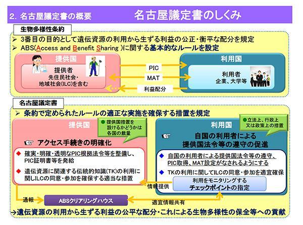 図 名古屋議定書の仕組み(環境省関連資料「名古屋議定書の概要」から/環境省提供)