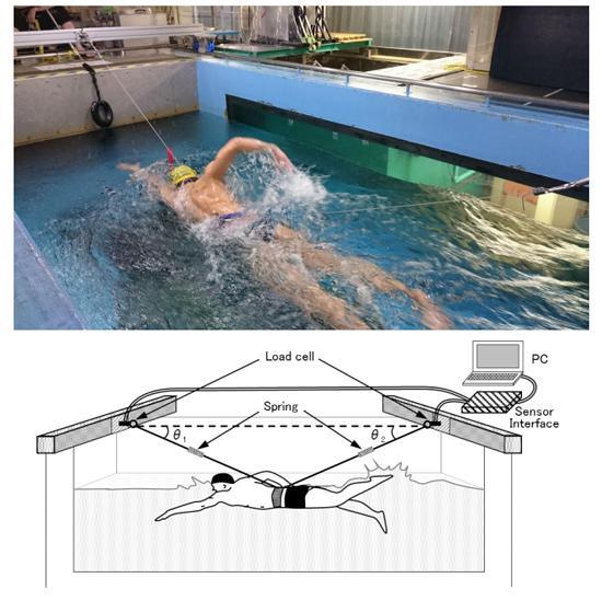 写真 筑波大学内実験用回流水槽内に人工的水流をつくりスイマーに泳いでもらっている様子 図 研究グループが開発した自己推進時抵抗測定方法の概要 任意の流速(U1)に設定された回流水槽内で、スイマーに一定の位置に留まるようクロールで泳いでもらい、その際の腕の回転頻度(テンポ)を記憶させる。その後、前後方向からワイヤーによって固定された状態で、記憶させたテンポを再現、維持しながらクロールで泳いでもらう。次に回流水槽の流速(U)をU1より速くしたり遅くしたり変化させながら、前後のワイヤーに生じる張力を測定、測定値から自己推進時抵抗を推定する(写真・図とも筑波大学の研究グループ作成・提供)