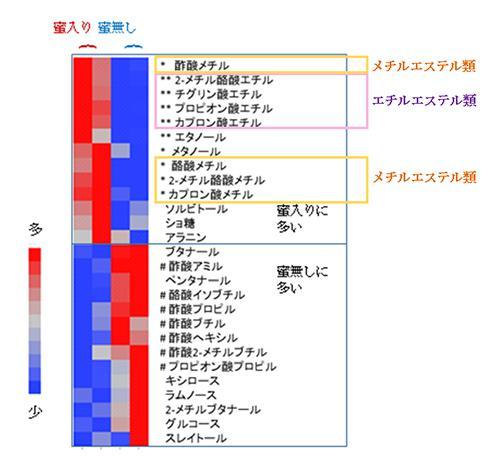 図 3.「ふじ」の蜜入りの有無と代表的な香気成分の含有量の特徴。蜜入りの方にエチルエステル、メチルエステルが比較的多い
