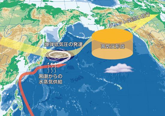 画像 黒潮が爆弾低気圧と大気循環に及ぼす影響の概念図(JAMSTEC提供)