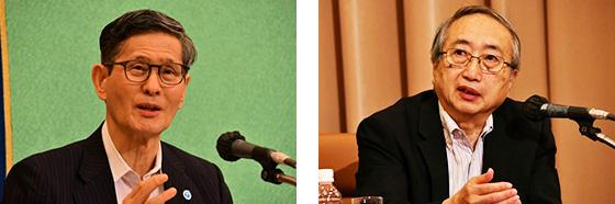 記者会見する尾身副座長(左)と主要メンバーの岡部信彦・川崎市健康安全研究所長(日本記者クラブ撮影、提供)
