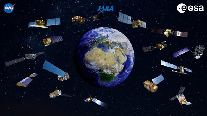 コロナの影響を捉える日米欧の地球観測衛星の想像図(JAXAなど提供)