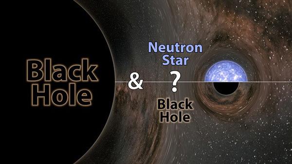 ブラックホールと正体不明の天体が衝突したことを示す概念図(LIGO、米カリフォルニア工科大学、米マサチューセッツ工科大学、R.ハート氏提供)