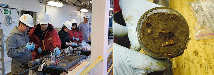 掘削船での作業(左)と、得られた試料(統合国際深海掘削計画・JRSO提供)