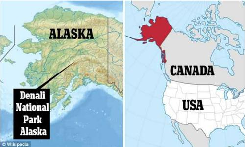 アラスカ州とデナリ国立公園の位置