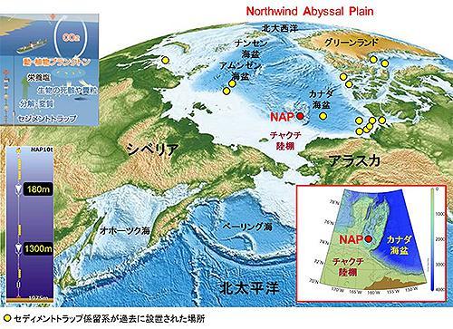 セディメントトラップ係留系が設置されたノースウィンド深海平原(NAP地点)