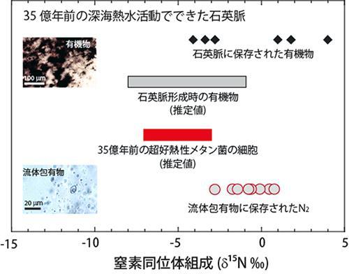 深海熱水環境に生息した超好熱性メタン菌の窒素固定を示す35億年前の地層の窒素同位体組成