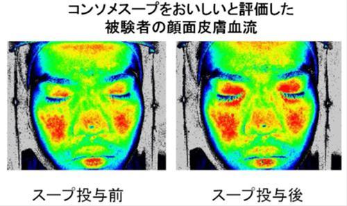 コンソメスープをおいしいと評価した被験者の顔面皮膚血流