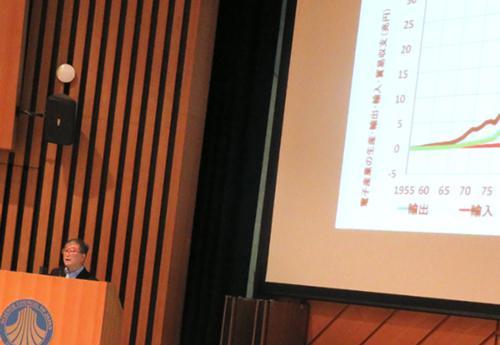 写真3 グラフを示しながら講演する西村吉雄氏