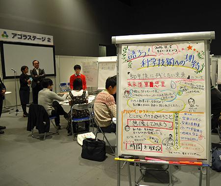 写真4、5 参加型のセッション「語ろう!科学技術への期待」