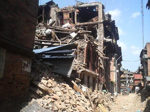 被害が大きかったカトマンズ市旧市街地