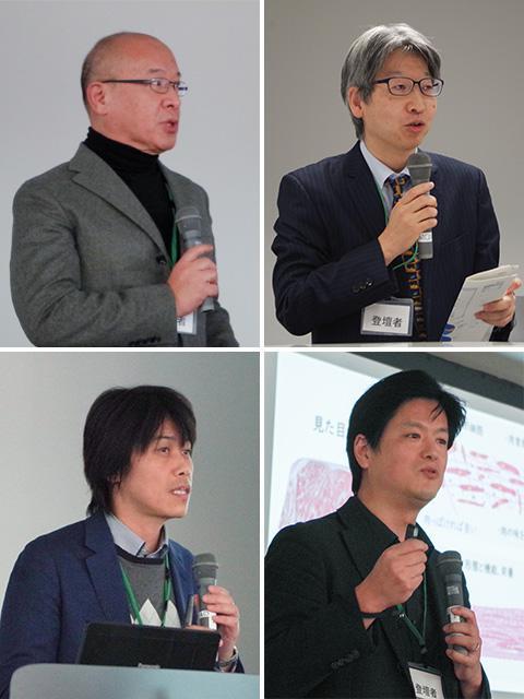 左上から時計回りに、東京医科歯科大学の赤澤智宏教授、東京女子医科大学の清水達也教授、東京大学の竹内昌治教授、大阪大学の松崎典弥教授