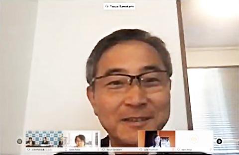 早稲田大学の川上泰雄教授(オンライン中継から)