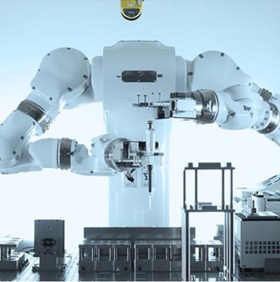 理化学研究所に導入された実験自動化ロボットシステム「まほろ」((C)Robotic Biology Institute, Inc.)