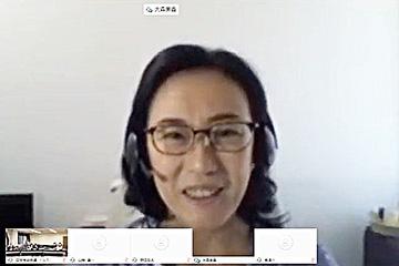 脚本作りの醍醐味を語る大森美香さん(オンライン中継から)