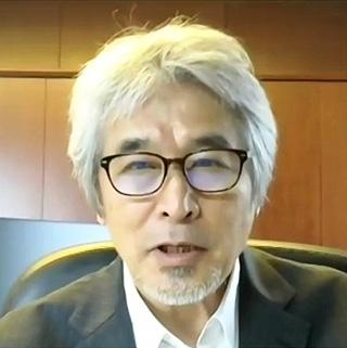 京都大学からテレビ会議で会見した山極寿一氏(日本記者クラブ提供)