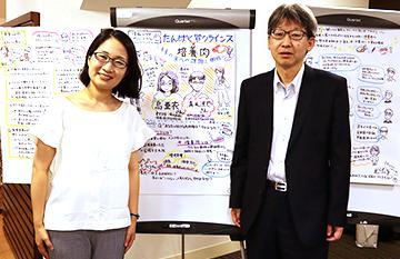 グラフィックレコード(ギジログ)の前で、講師の島さん(左)と清水さん(右)