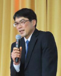 講演する大阪大学教授の森勇介さん