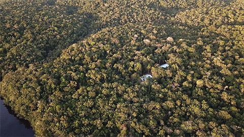 池田さんの活動地の一つ、クイエイラス・ステーション(中央右の白い建物)。アマゾンで唯一の黒い川の浸水林の長期観察施設や宿泊棟が備わっているという(池田さん提供)