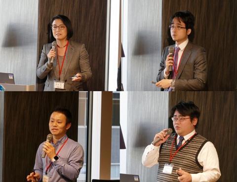 ピッチを行う研究者(左上から時計回りの順に、赤井恵氏、余語覚文氏、大森亮介氏、笹原和俊氏)