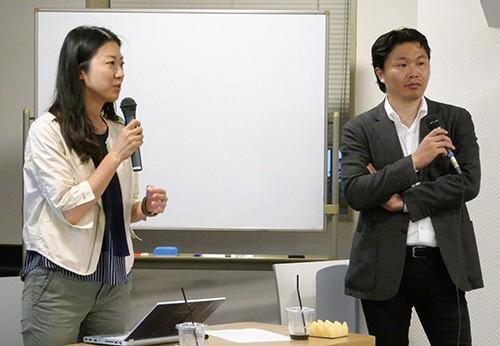 写真2 講師の原さん(左)とファシリテーターの青野さん(右)