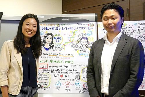 写真8 最後にギジログの前で記念写真。原さん(左)と、青野さん(右)