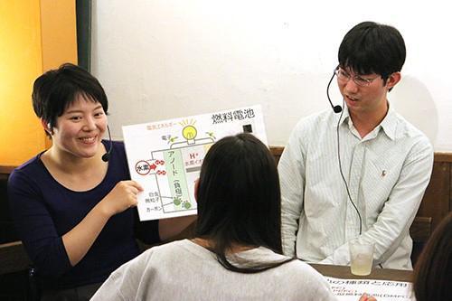 写真5 説明をするゲストの丹羽さん(右)と、フリップを持つファシリテーターの蓑田さん(左)