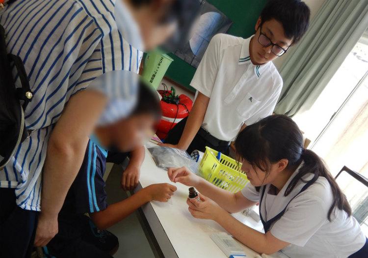 天草高校の文化祭でのプレパラート作り体験会 ※画像提供:天草高校