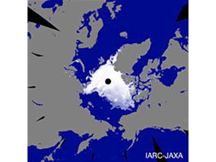 北極海の氷の面積減り史上最小に