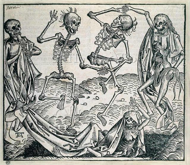 「死の舞踏」 ミヒャエル・ヴォルゲムート、銅版画、1493年