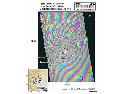 断層両側で異なる地殻の動き「だいち」が観測