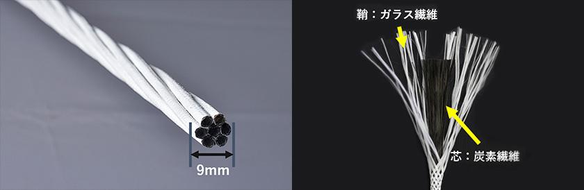 小松マテーレ旧本社棟の改築工事に、耐震補強用の引張材(引っ張り力に強く鉄と同等の強度を持つ特殊な素材)として、柔軟なロッド状の炭素繊維複合材料「カボコーマ・ストランドロッド」が、世界で初めて用いられている。芯材となる炭素繊維の束の周りを、合成繊維の組ひもで覆い、炭素繊維の束に緩やかな「撚り(より)」(ストランド)を加えることで曲げやすく扱いやすくした。特に木造建築の耐震補強に適しており、寺院など歴史的な建造物の耐震補修にも使われている。 画像提供:小松マテーレ株式会社
