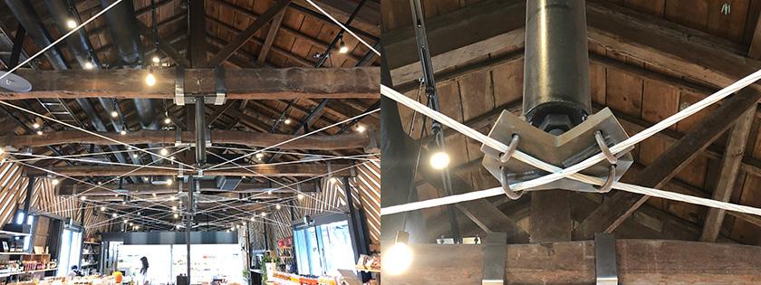 隈さんの改修設計による富岡倉庫3号倉庫の耐震補強後の様子。既存のトラス小屋組や既存の壁を最大限に活かし、景観が保たれている。 画像提供:小松マテーレ株式会社