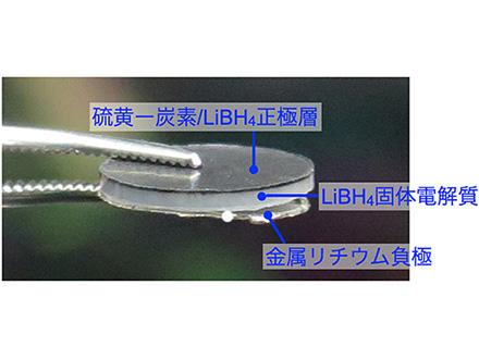 全固体リチウム-硫黄電池の開発成功