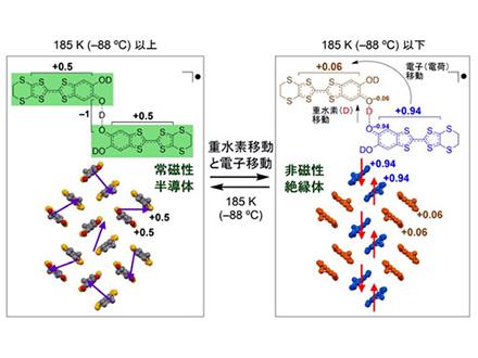 電導性と磁性が切り替わる有機物開発