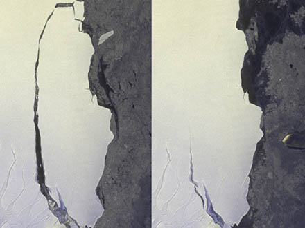 JAXA衛星が南極の分離棚氷を撮影