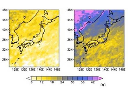 日本周辺の強い雨の激しさは、2040年には地球温暖化で早くも1割増しになる