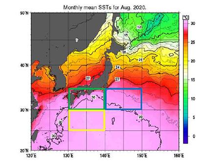日本の南近海の海面水温上昇で台風勢力強まる恐れ 8月は3海域で最高水温と気象庁