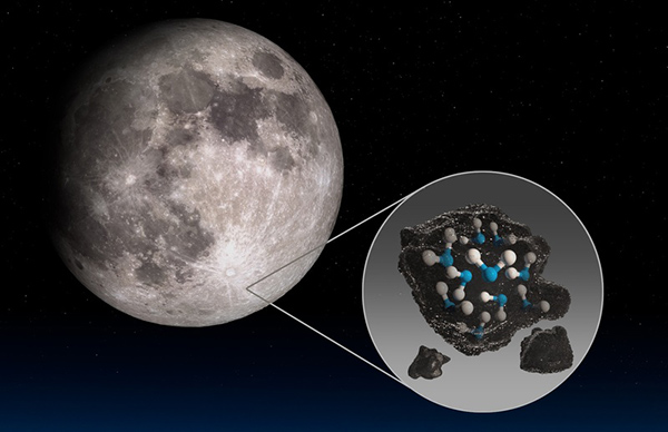 月のクラビウスクレーターから水分子が検出されたことを示す概念図(NASA提供)