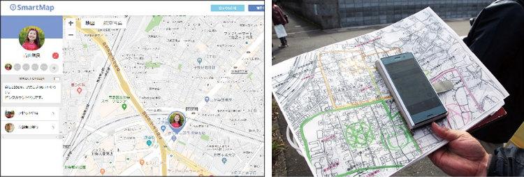 LiveRidgeの位置情報サービス「Smart Map」を使った徘徊模擬訓練。高齢者のいる場所をインターネット上の地図で表示する 画像提供:株式会社LiveRidge