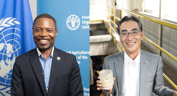 国連食糧農業機関(FAO)のンブリ・チャールズ・ボリコさん(左)と株式会社日本フードエコロジーセンターの髙橋巧一さん(右)