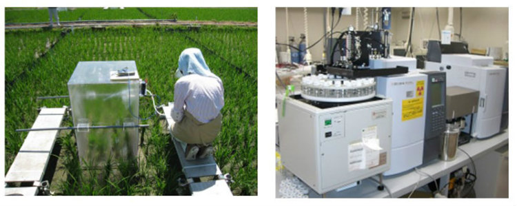 気密性のある箱でイネごと地面を覆い一定時間間隔で箱内の空気を採取(左)、温室効果ガス3成分同時測定器で濃度を測定し(右)、面積当たりの排出量を算出する。※資料提供:農研機構