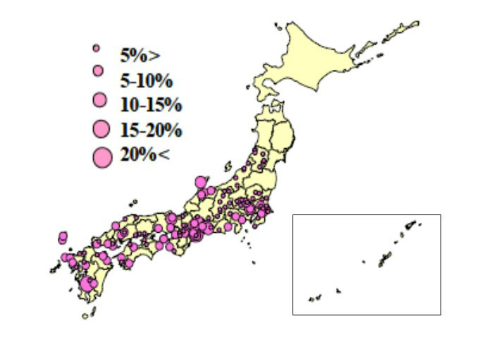 山形県以南で白未熟粒の発生率が高い。※資料提供:農研機構