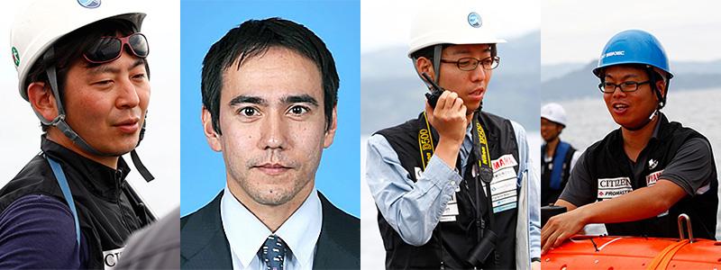 左から、KUROSHIO共同代表を務めた中谷武志さん(海洋研究開発機構)、ソーントン・ブレアさん(東京大学)、大木健さん(海洋研究開発機構)、西田祐也さん(九州工業大学)。 ※画像提供:Team KUROSHIO