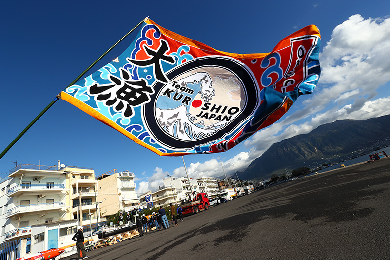 KUROSHIOの大漁旗。※画像提供:Team KUROSHIO